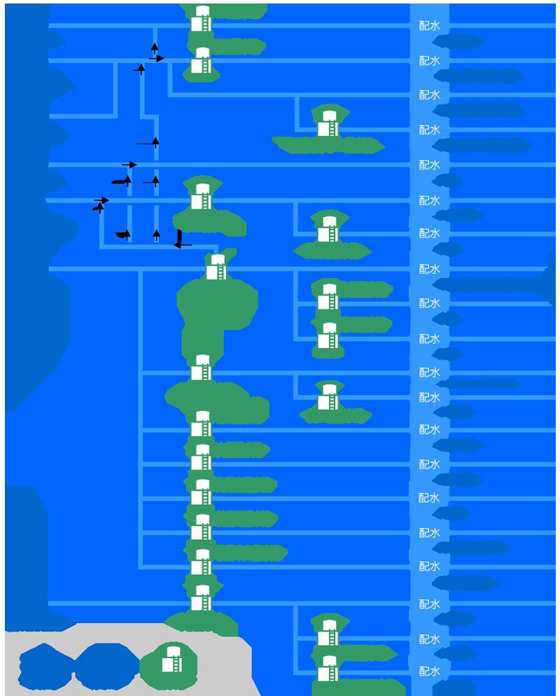 画像:水道施設の分岐図